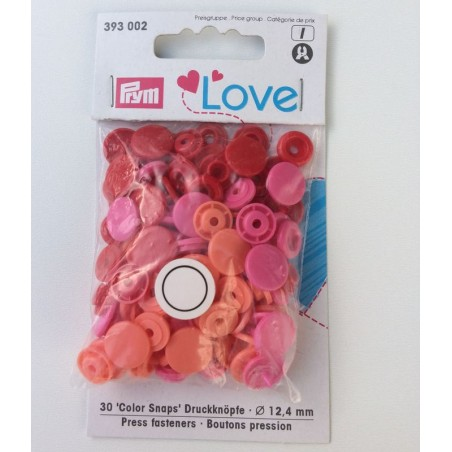 Pression Prym love dégradé de rose/orange (30 pièces)