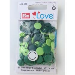 Pression Prym love dégradé de vert (30 pièces)