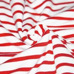 Tissu jersey marin banc et rouge