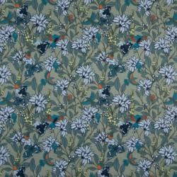 Tissu coton popeline fleurs kaki