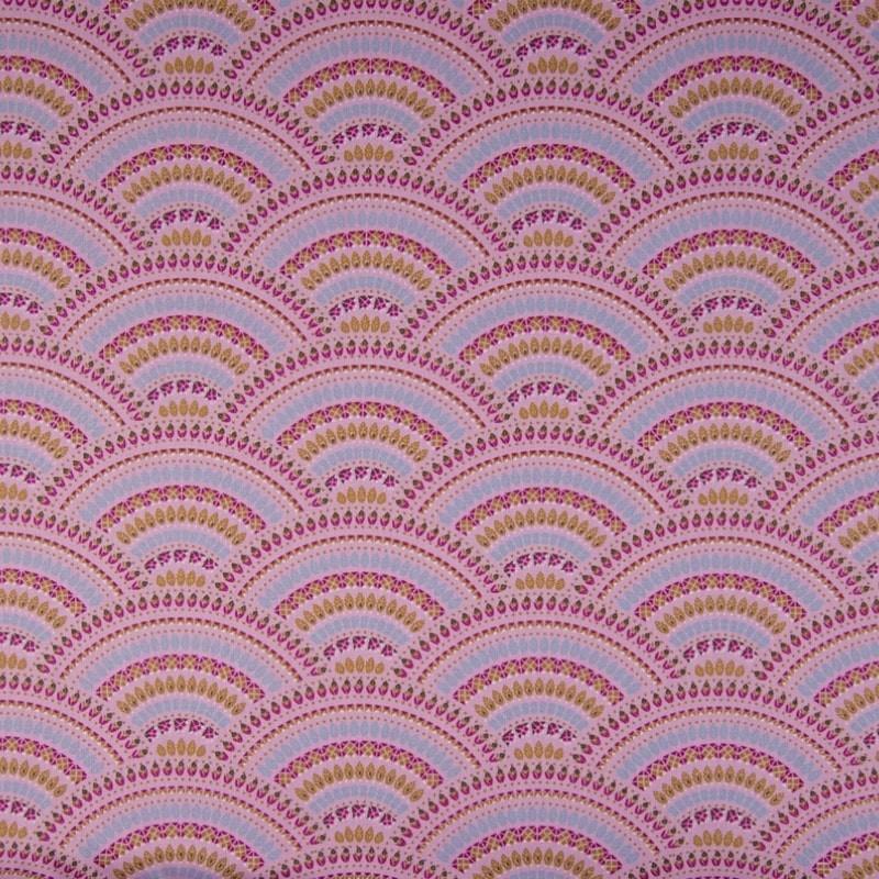 tissu coton popeline paon rose