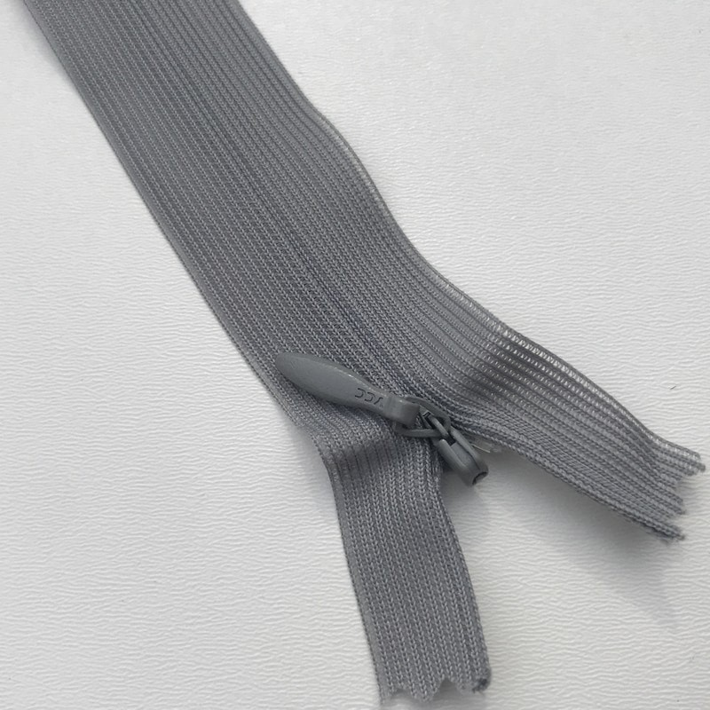 Fermeture éclair zip invisible 18cm gris