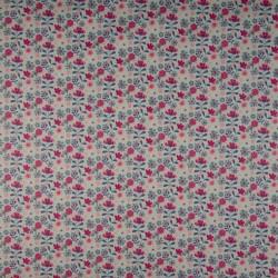 Tissu coton popeline jardin de fleur rose BIO