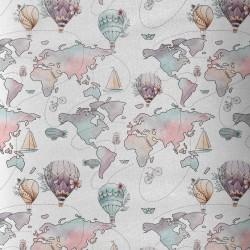 """Tissu coton Premium """"Tour du monde en montgolfière"""""""