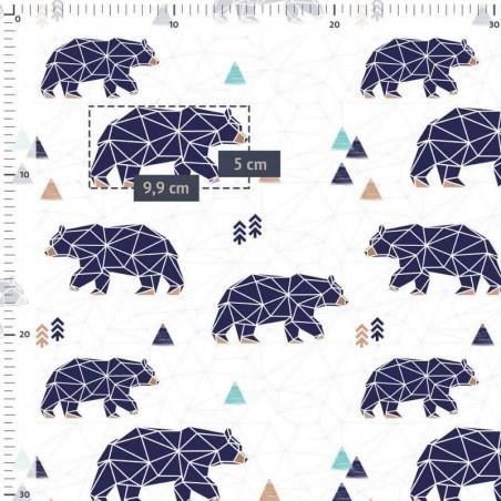 Tissu jersey numérique ours bleu