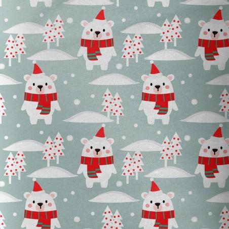 Tissu coton numérique ours de Noel