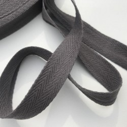 Sangle / Ruban 16mm Gris anthracite (Vendu au mètre)
